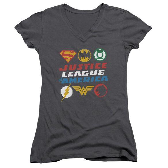 Jla Pixel Logos Junior V Neck T-Shirt