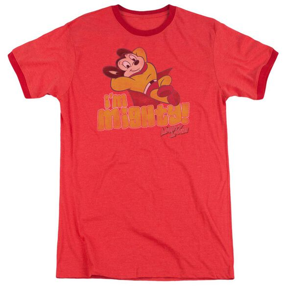 Mighty Mouse Im Mighty Adult Heather Ringer Red