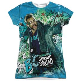 Suicide Squad Boomerang Psychedelic Cartoon Short Sleeve Junior Poly Crew T-Shirt