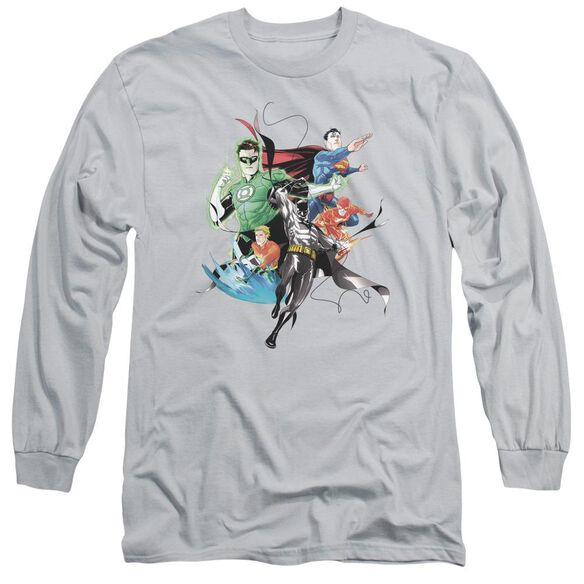 Jla Mashup Long Sleeve Adult T-Shirt