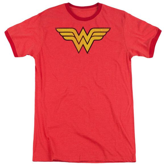 Dc Wonder Woman Logo Dist Adult Heather Ringer Red