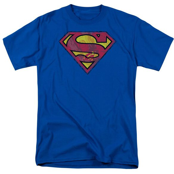 Superman Action Shield Short Sleeve Adult Royal Blue T-Shirt