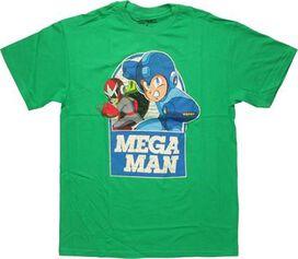 Mega Man and Proto Man Over Name T-Shirt