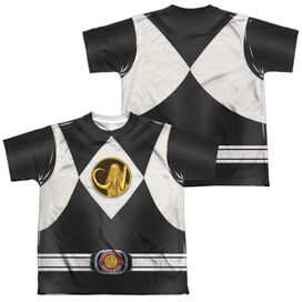 Power Rangers Black Ranger Uniform (Front Back Print) Short Sleeve Youth Poly Crew T-Shirt