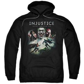 Injustice Gods Among Us Key Art Adult Pull Over Hoodie Black