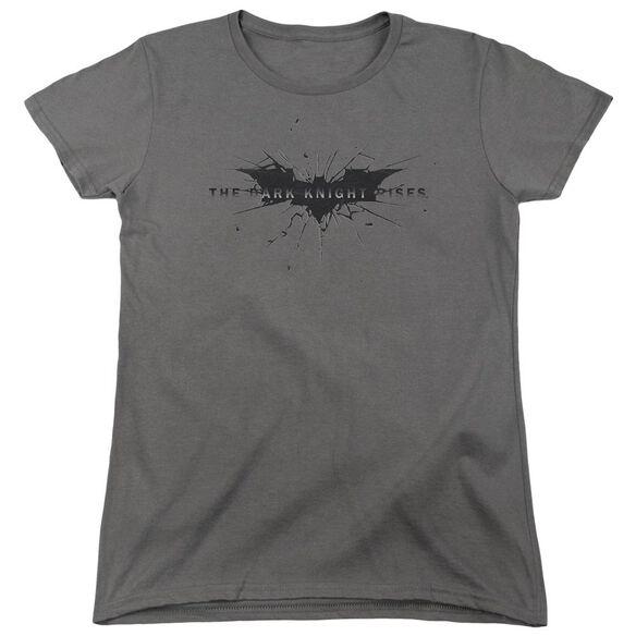 Dark Knight Rises Scratched Logo Short Sleeve Womens Tee Charcoal T-Shirt