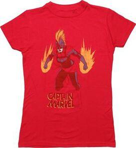 Captain Marvel Energy Burst Juniors T-Shirt