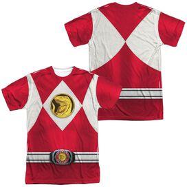 Power Rangers Red Ranger Emblem (Front Back Print) Short Sleeve Adult Poly Crew T-Shirt