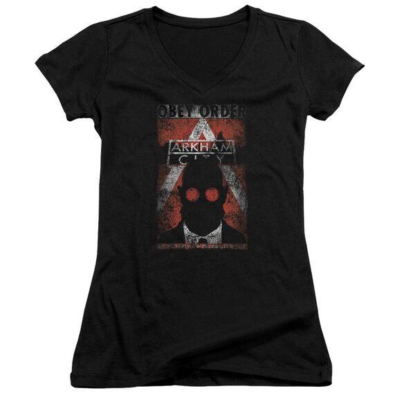 Arkham City Obey Order Poster Junior V Neck T-Shirt