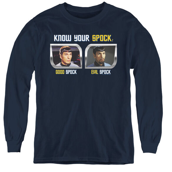 St Original Know Your Spock - Youth Long Sleeve Tee - Navy