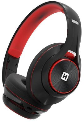 iHome iB90v2 Bluetooth Wireless On-Ear Rechargeable Headphones with Extra Long Life Battery + Mic (Black/Red)