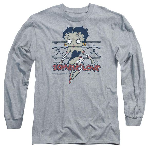 Betty Boop Zombie Pinup Long Sleeve Adult Athletic T-Shirt