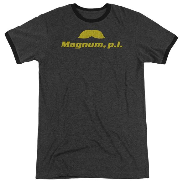 Magnum Pi The Stache Adult Heather Ringer Charcoal