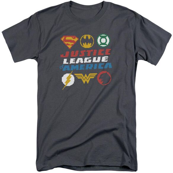 Jla Pixel Logos Short Sleeve Adult Tall T-Shirt