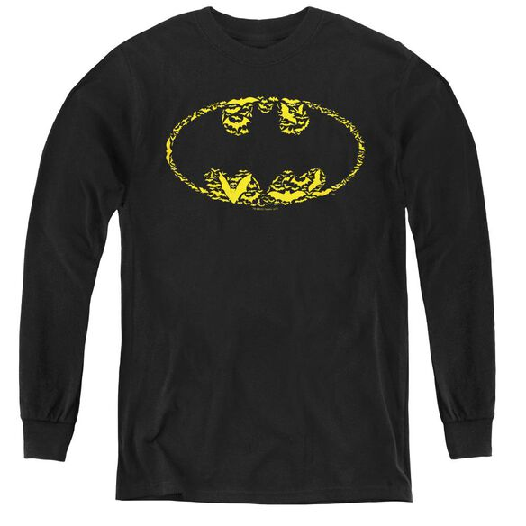 Batman Bats On Bats - Youth Long Sleeve Tee - Black