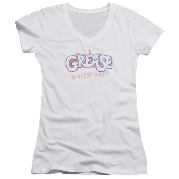 Grease Grease Is The Word Junior V Neck T-Shirt
