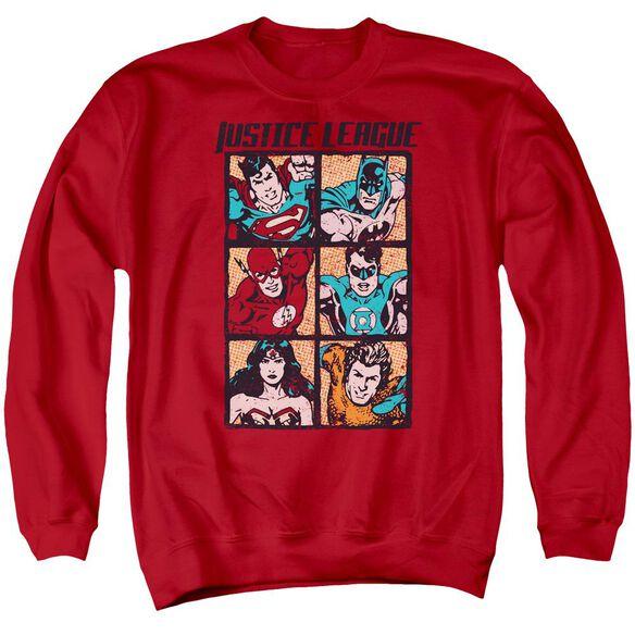 Jla Rough Panels Adult Crewneck Sweatshirt