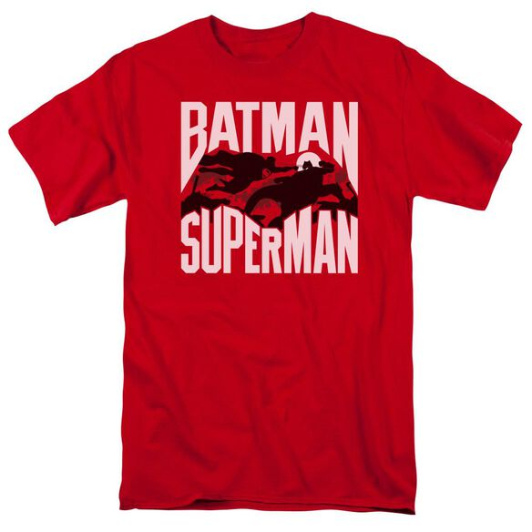 Batman Vs Superman Silhouette Fight Short Sleeve Adult Red T-Shirt
