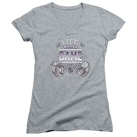 Tom And Jerry Life Is A Game Junior V Neck Athletic T-Shirt