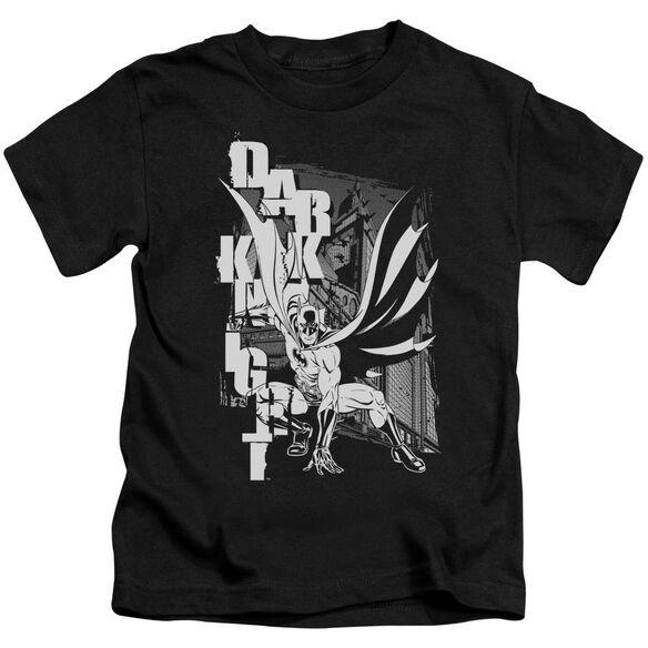 Batman Vertical Letters Short Sleeve Juvenile Black T-Shirt