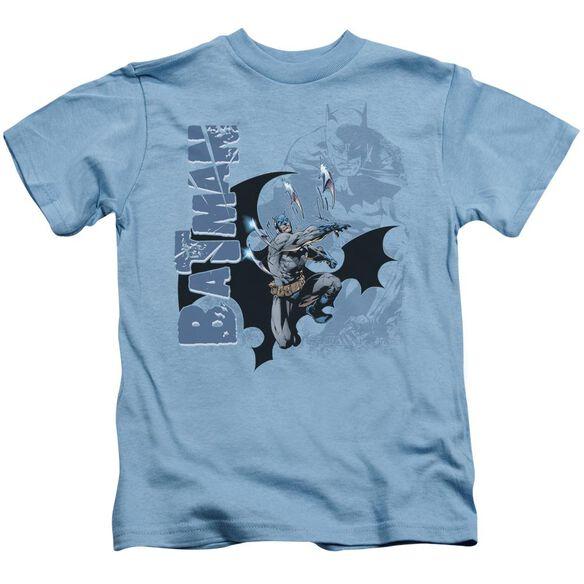 Batman Throwing Blades Short Sleeve Juvenile Carolina Blue T-Shirt