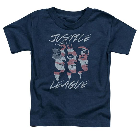 Jla Justice For America Short Sleeve Toddler Tee Navy T-Shirt