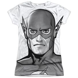 Jla Bw Flash Head Short Sleeve Junior Poly Crew T-Shirt
