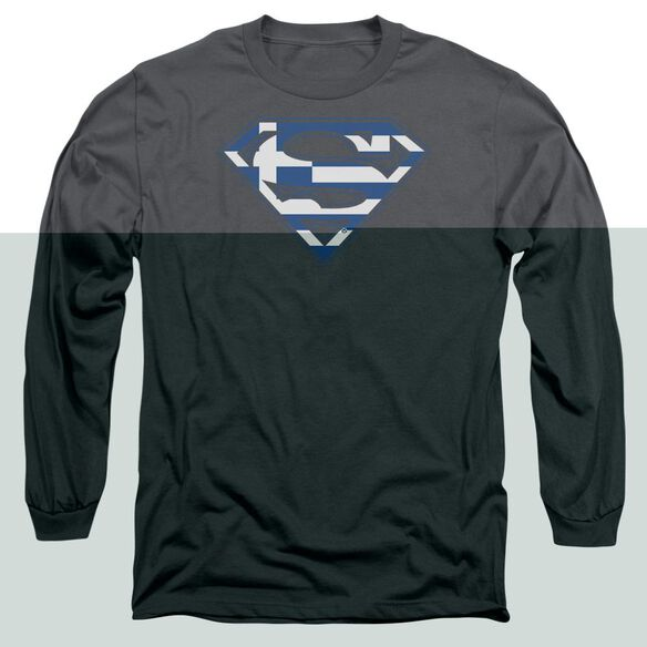 SUPERMAN GREEK SHIELD - L/S ADULT 18/1 - CHARCOAL T-Shirt