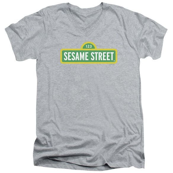 Sesame Street Logo Short Sleeve Adult V Neck Athletic T-Shirt