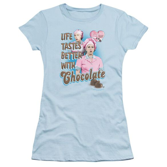 I Love Lucy Better With Chocolate Short Sleeve Junior Sheer Light T-Shirt
