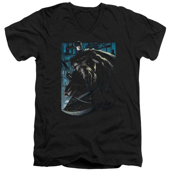 Batman Knight Falls In Gotham Short Sleeve Adult V Neck T-Shirt