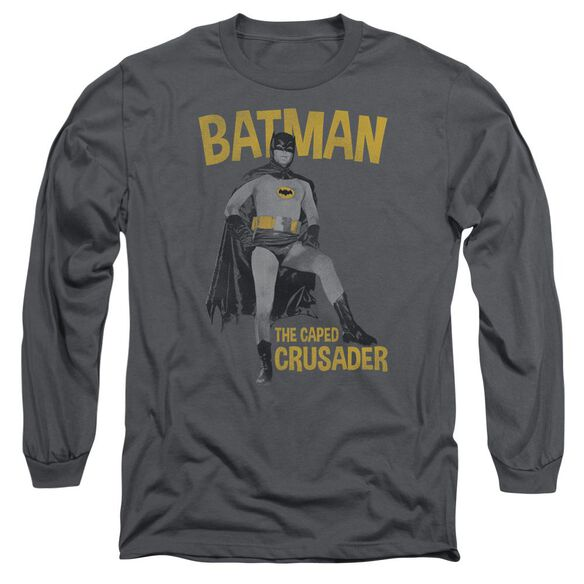 Batman Classic Tv Caped Crusader Long Sleeve Adult T-Shirt