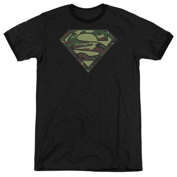 Superman Camo Logo Adult Heather Ringer