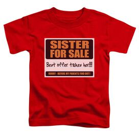 SISTER FOR SALE - TODDLER TEE - RED - T-Shirt