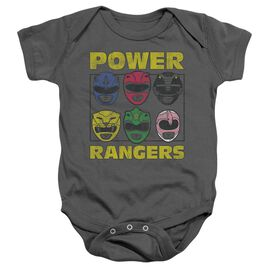 Power Rangers Ranger Heads Infant Snapsuit Charcoal