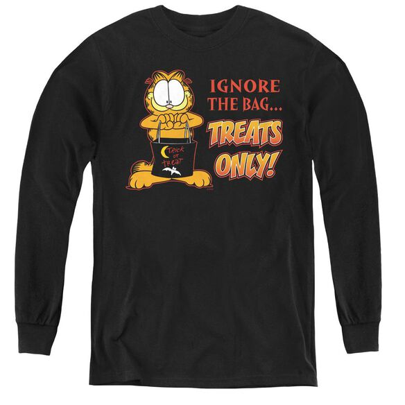 Garfield Treats Only - Youth Long Sleeve Tee - Black