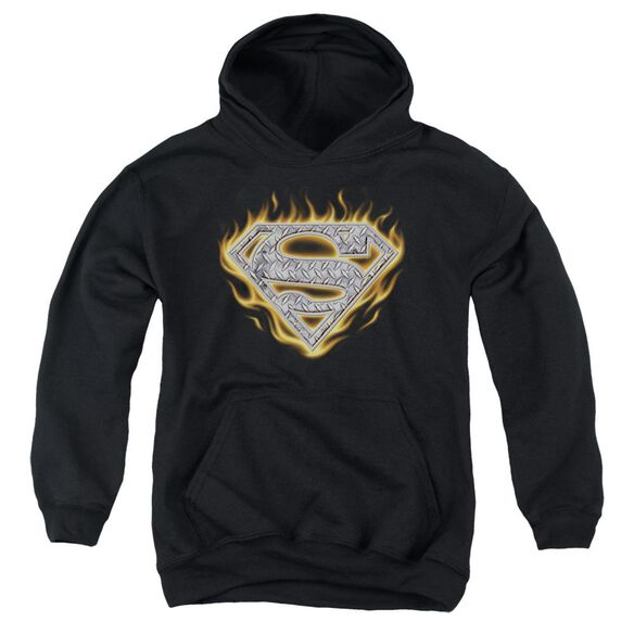 Superman Steel Fire Shield Youth Pull Over Hoodie