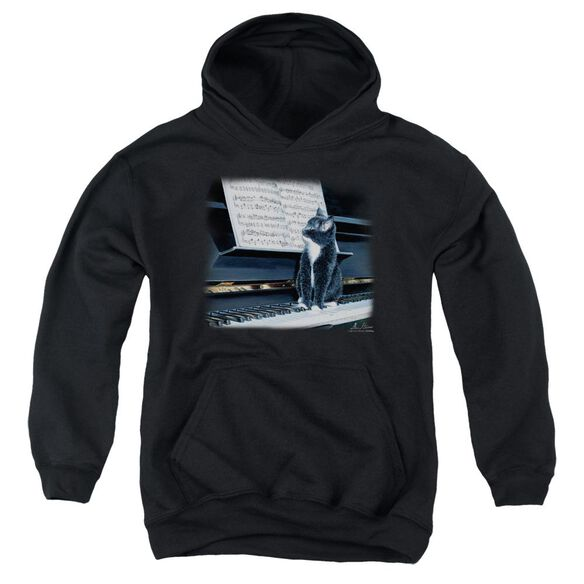 Wildlife Kitten On The Keys Youth Pull Over Hoodie