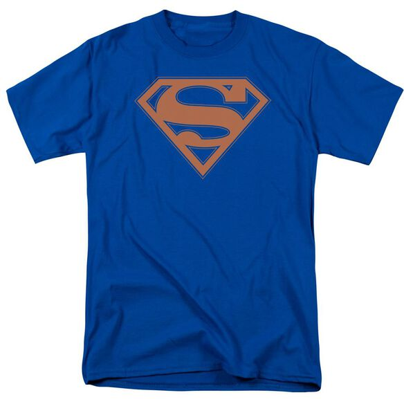 Superman Blue & Orange Shield Short Sleeve Adult Royal Blue T-Shirt