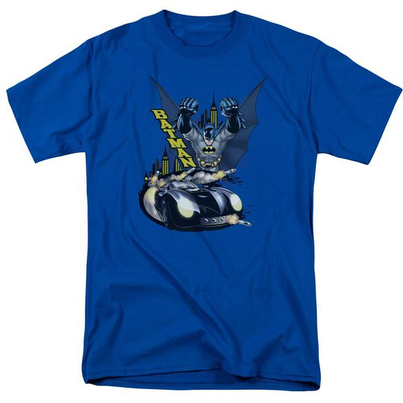 Batman By Air & By Land Short Sleeve Adult Royal Blue T-Shirt