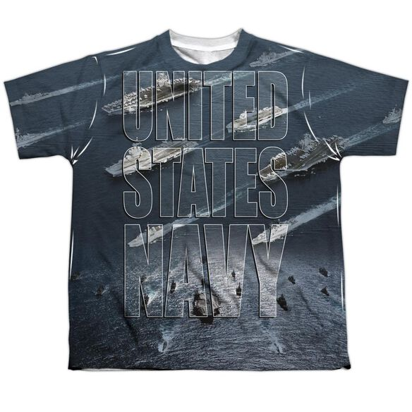 Navy Fleet Short Sleeve Youth Poly Crew T-Shirt