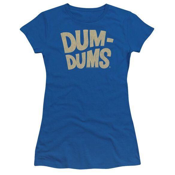 Dum Dums Distressed Logo Short Sleeve Junior Sheer Royal T-Shirt