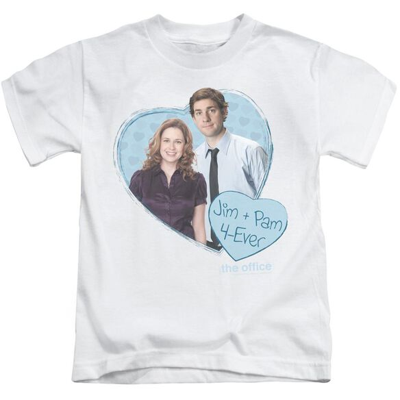 The Office Jim & Pam 4 Ever Short Sleeve Juvenile White Md T-Shirt