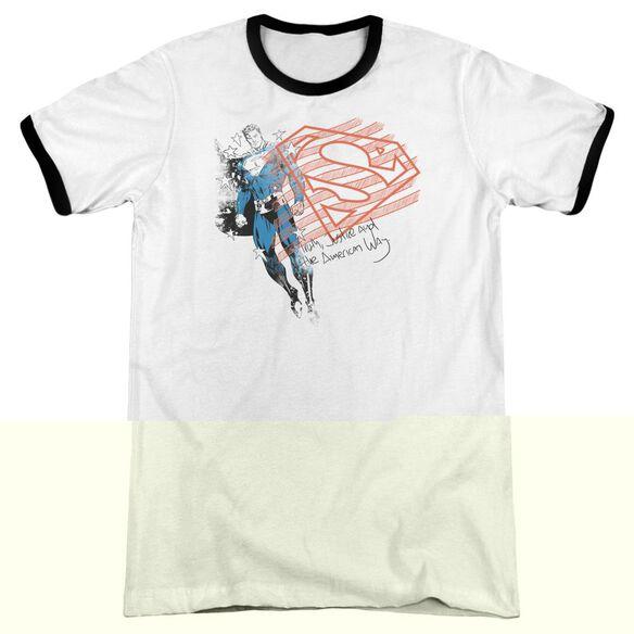Superman Super American Flag - Adult Ringer - White/black