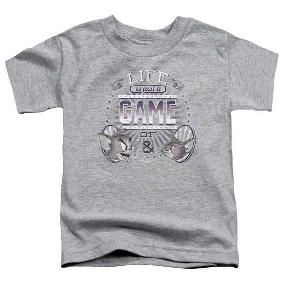 Tom And Jerry Life Is A Game Short Sleeve Toddler Tee Athletic Heather T-Shirt