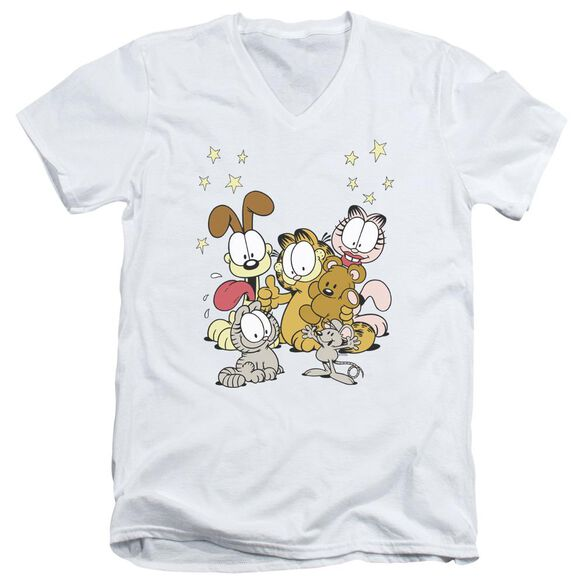 GARFIELD FRIENDS ARE BEST - S/S ADULT V-NECK - WHITE T-Shirt