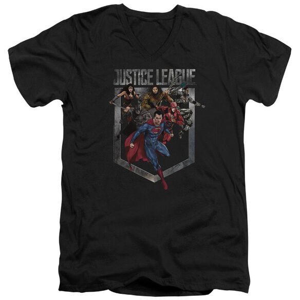 Justice League Movie Charge Short Sleeve Adult V Neck T-Shirt