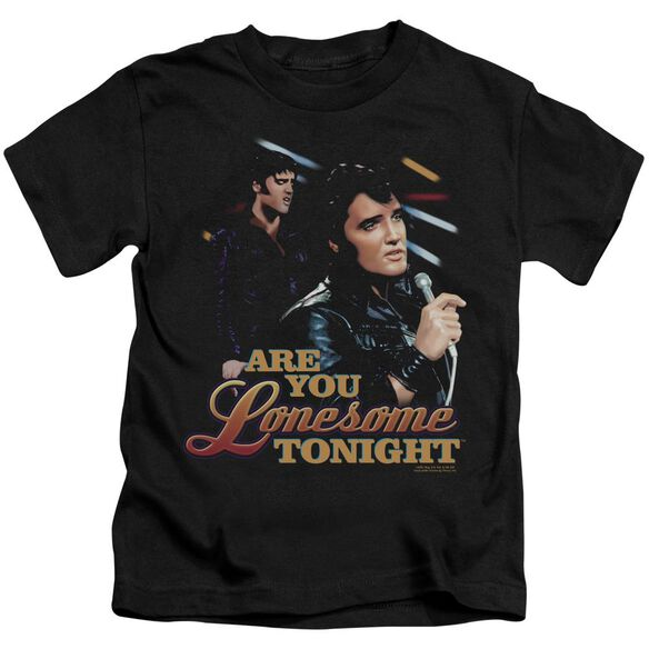 Elvis Are You Lonesome Short Sleeve Juvenile Black T-Shirt