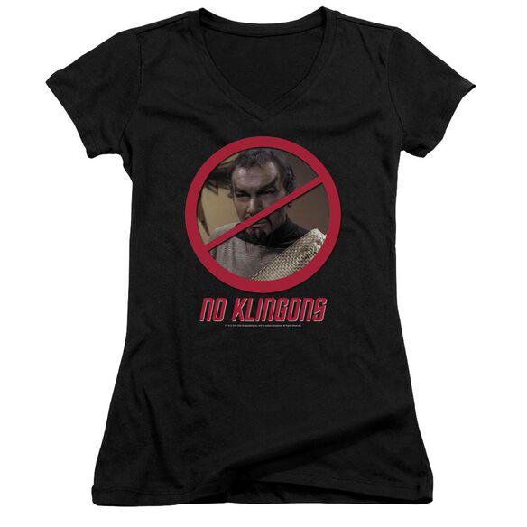 Star Trek No Klingons Junior V Neck T-Shirt