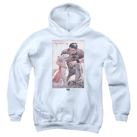 Superman Mans Best Friend Youth Pull Over Hoodie